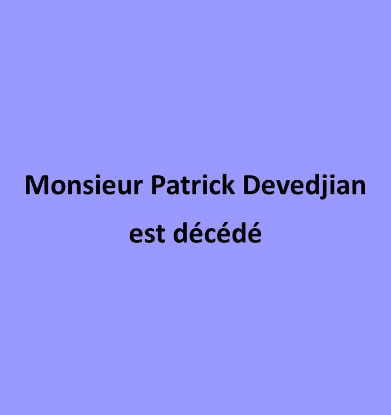 Décès de M. Patrick Devedjian