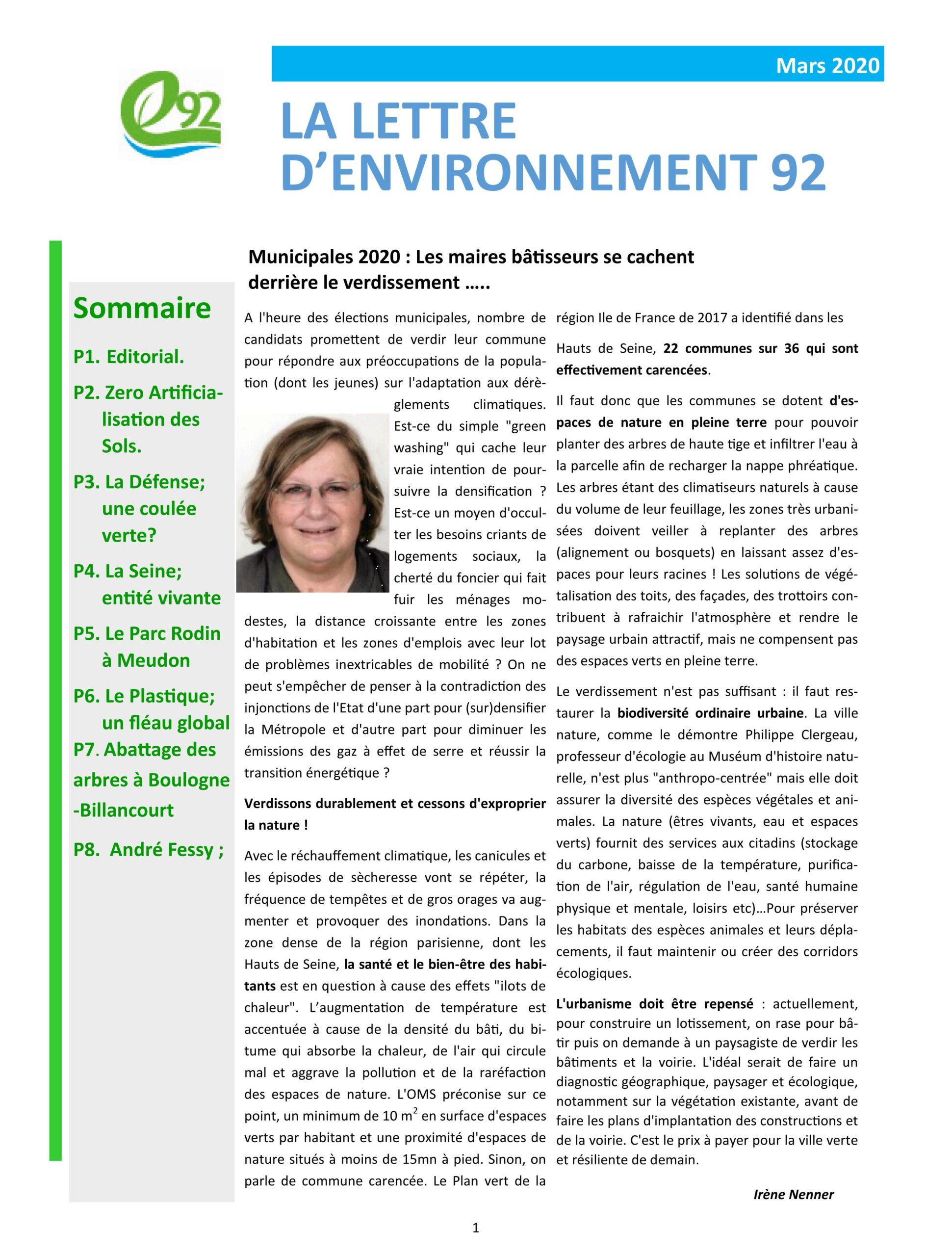 Lettre d'Environnement 92 – mars 2020