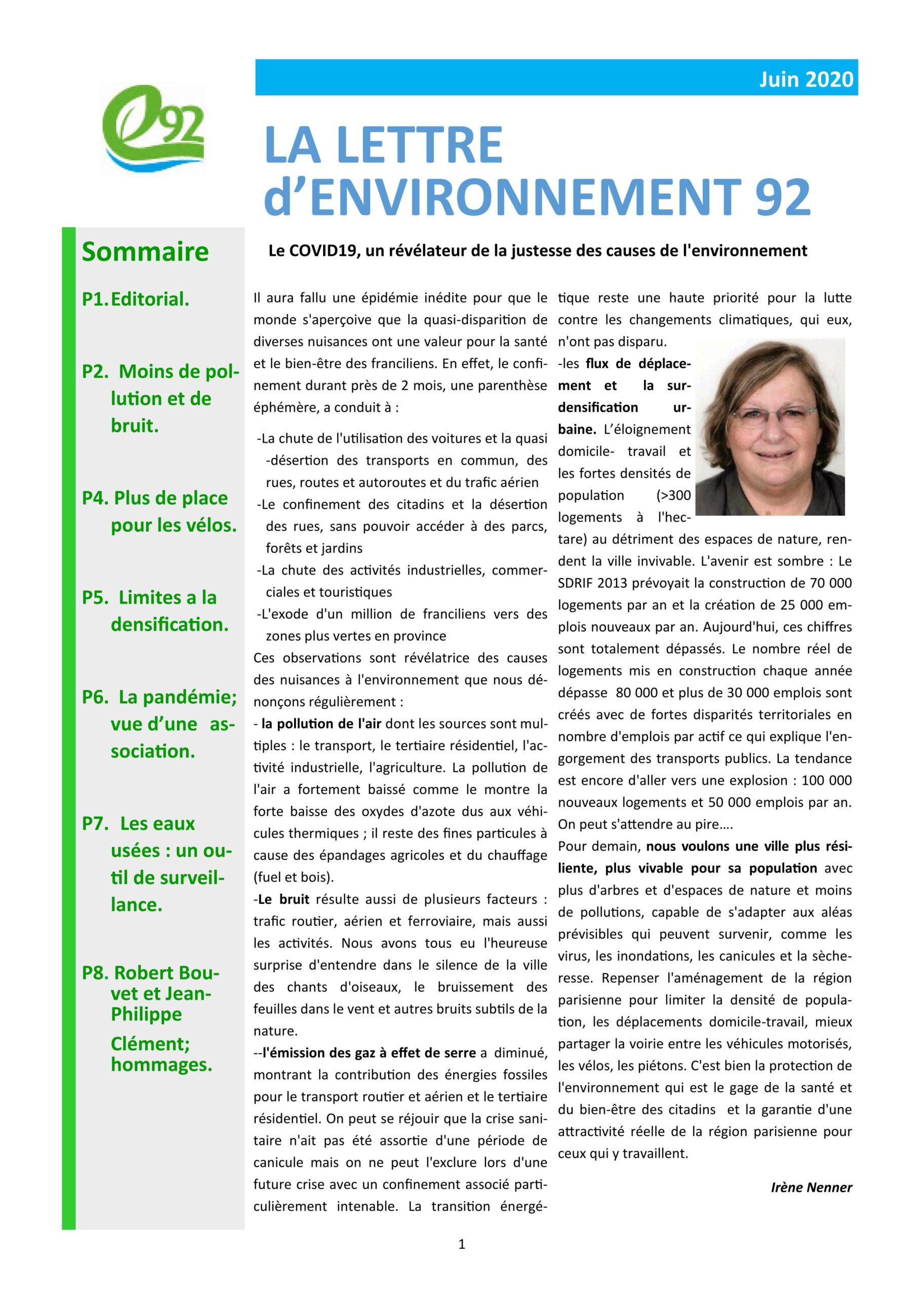 Lettre d'Environnement 92 – Juin 2020