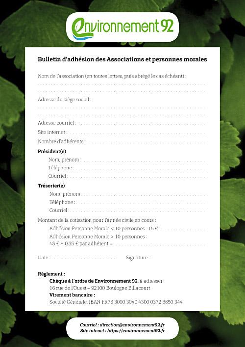 Bulletin d'adhésion pour les associations