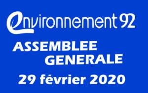 Convocation à l'assemblée générale ordinaire d'environnement 92 – 20 février 2020