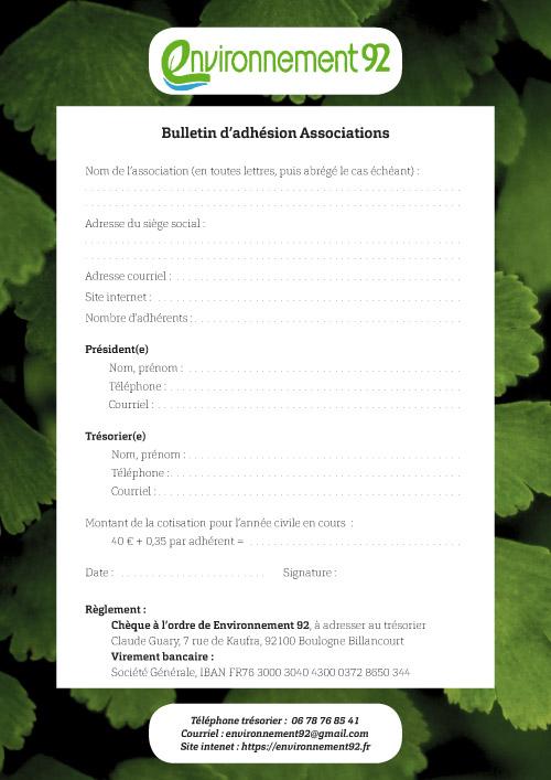 Bulletin d'adhésion Associations