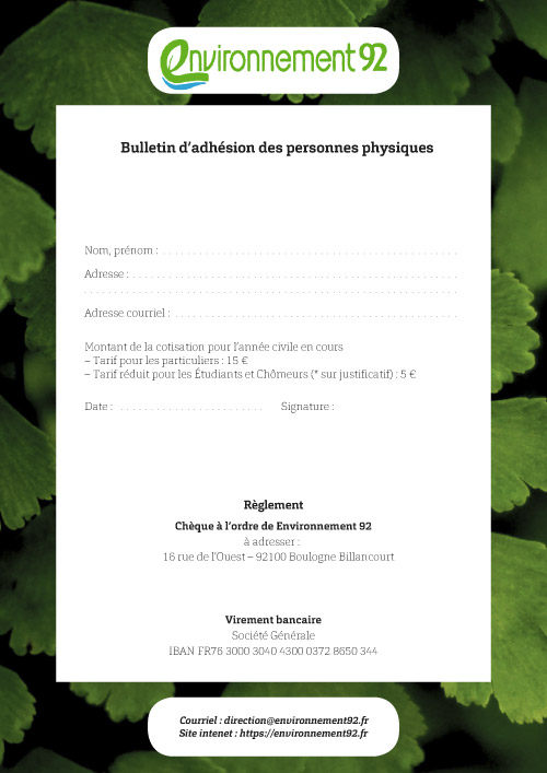 Bulletin d'adhésion pour les particuliers
